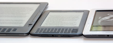 Kindle 3, nook and Kobo reader