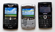 BlackBerry Curve, 8800 and Samsung BlackJack