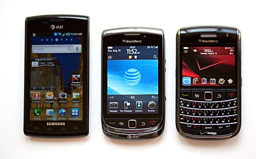 Torch, Blackberry Bold 9650 and Samsung Captivate